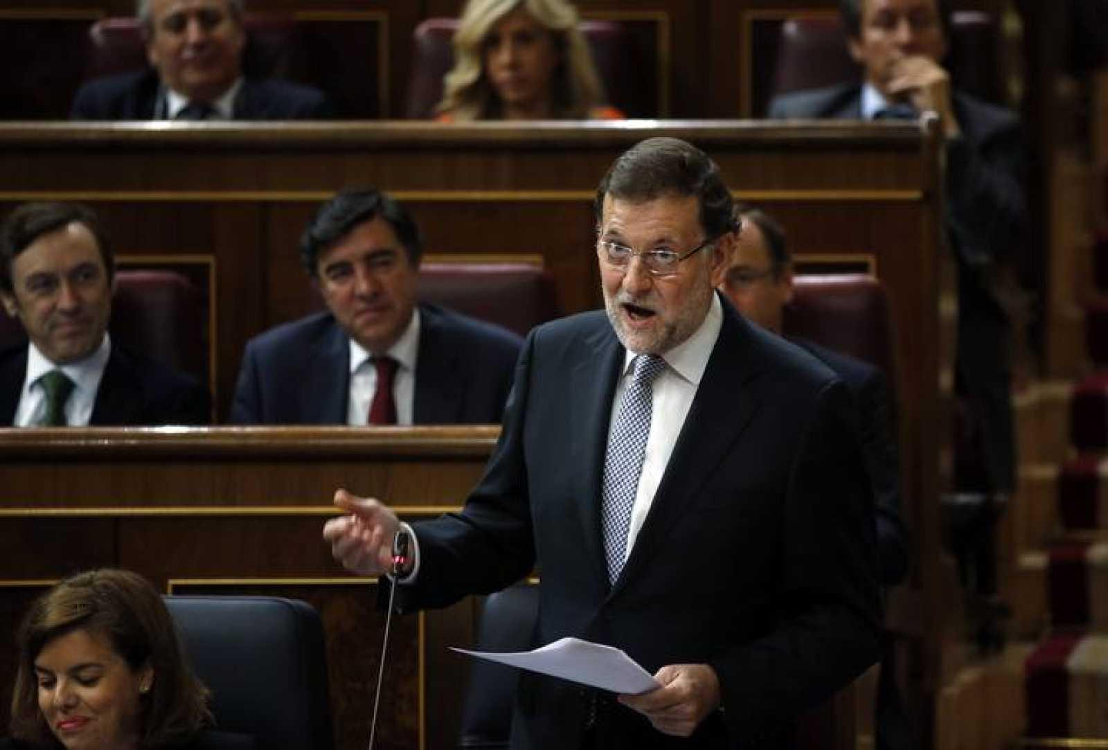 El presidente del Gobierno, Mariano Rajoy, en la sesión de control al Gobierno