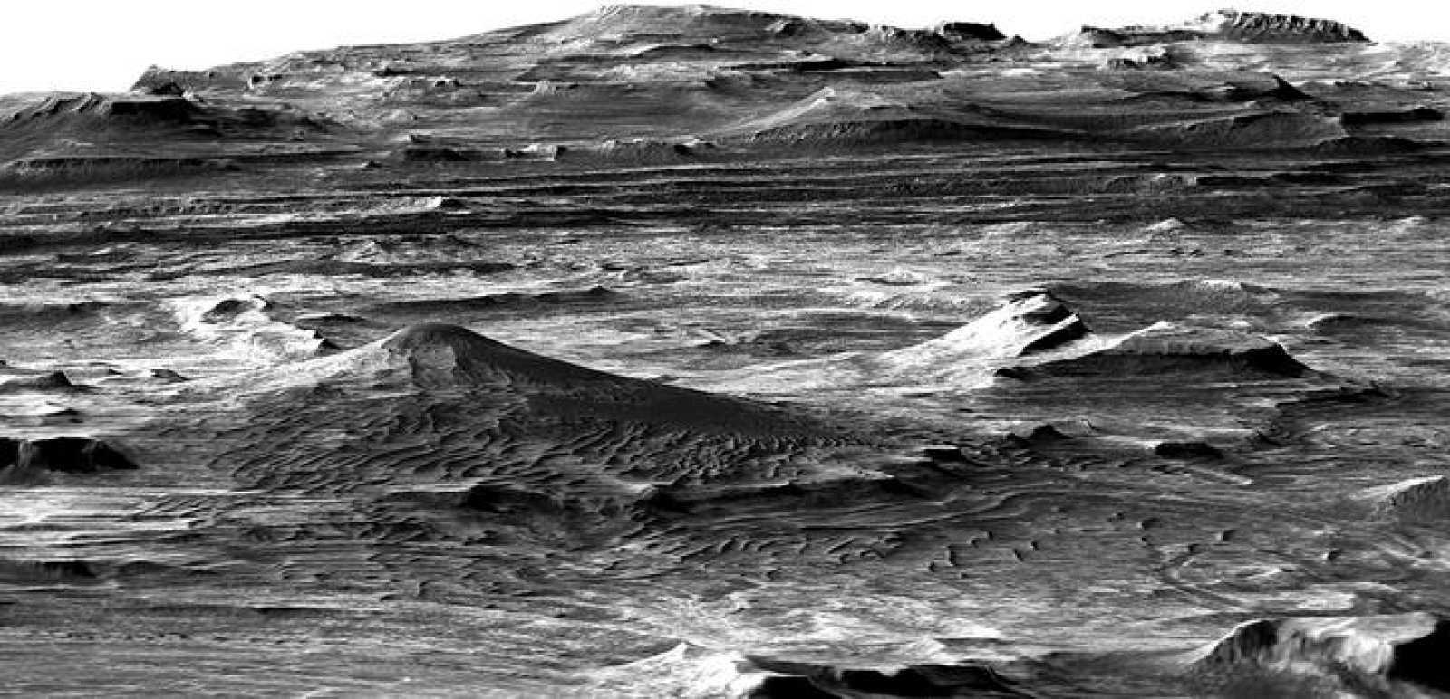 Imagen del área investigada, del Gran Cañón de Marte, en 2008.