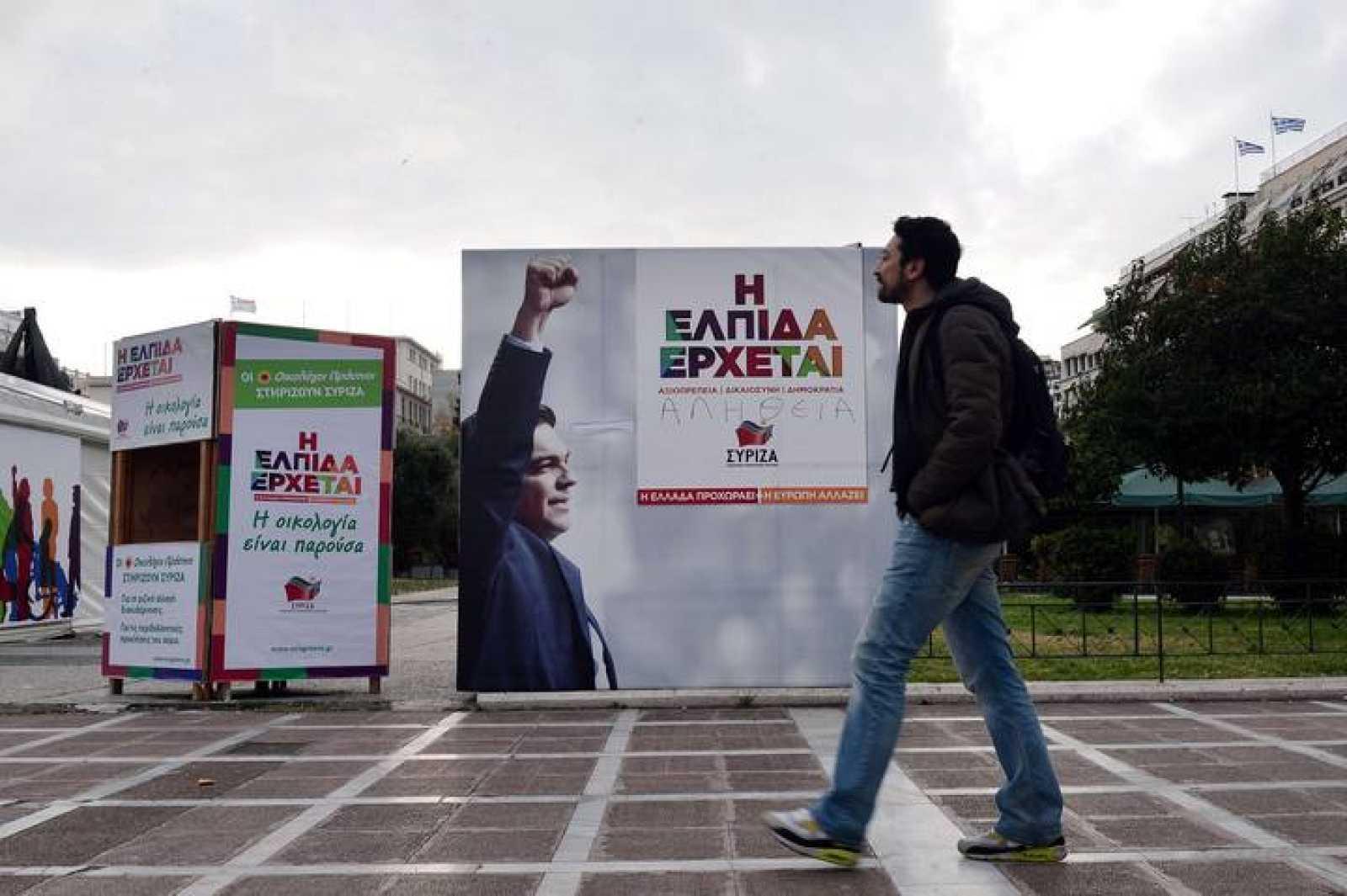 Carteles de Syriza en Atenas