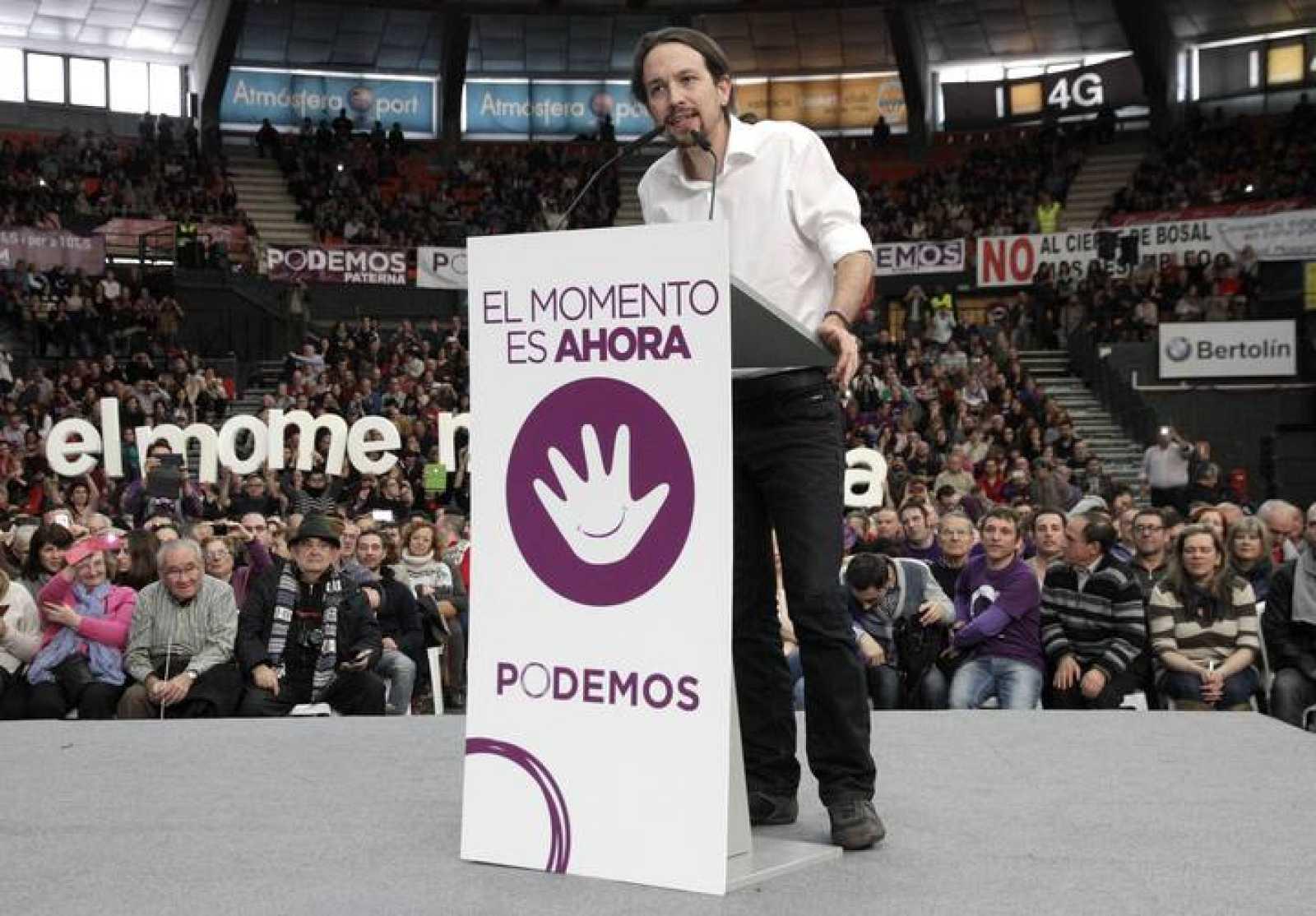 El secretario general de Podemos, Pablo Iglesias, en un acto del partido en Valencia