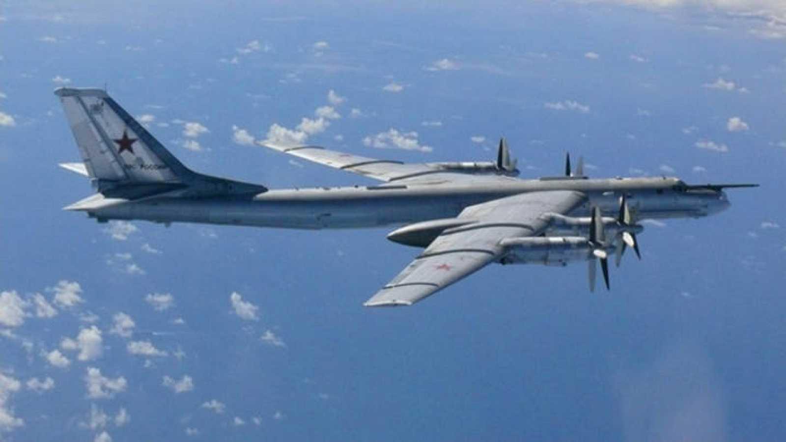 Un bombardero ruso Tupolev TU-95, conocido como 'Oso'