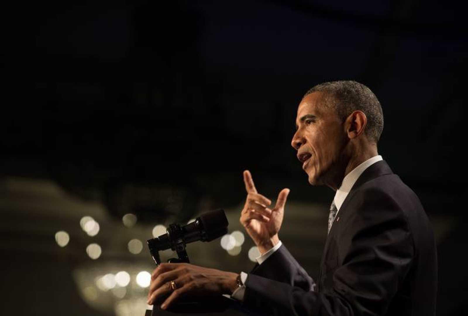 El presidente de EE.UU., Barack Obama, en un discurso ante los demócratas de Filadelfia