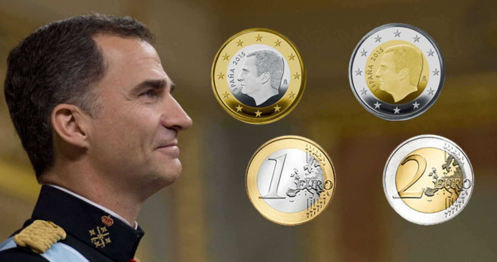 Las nuevas monedas de 1 y 2 euros con la imagen de Felipe VI
