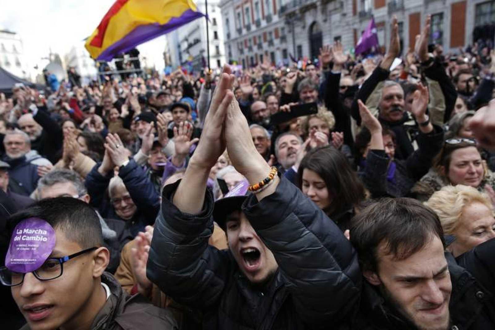 Manifestantes en la marcha por el cambio convocada por Podemos en Madrid el pasado 31 de enero.