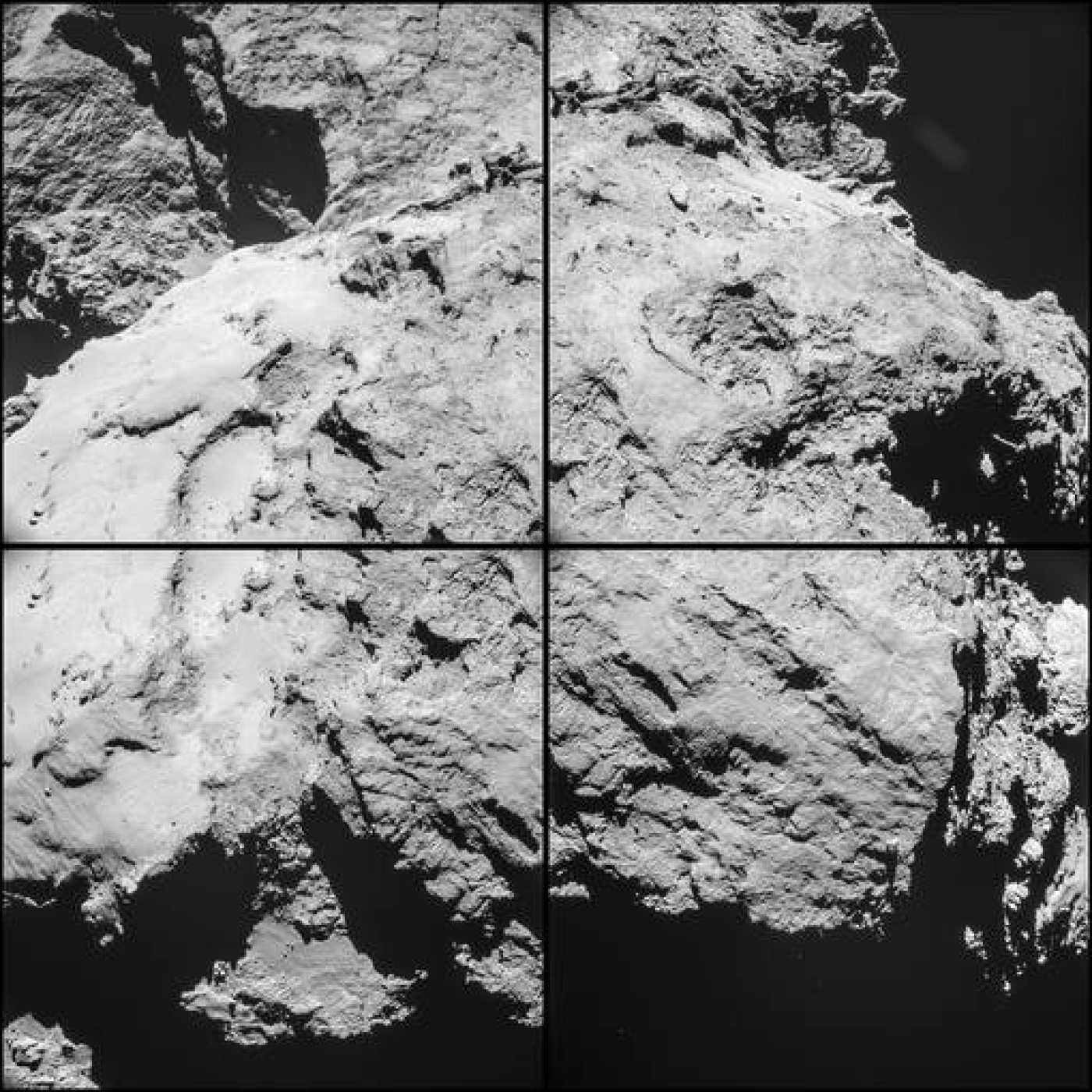 Montaje de cuatro imágenes del cometa 67P/Churyumov-Gerasimenko tomadas a las 11.15 horas del sábado.
