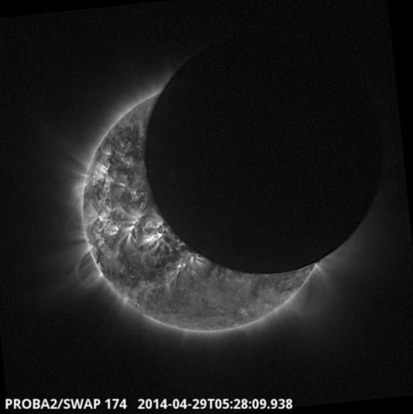 Eclipse solar fotografiado por el satélite Proba-2.