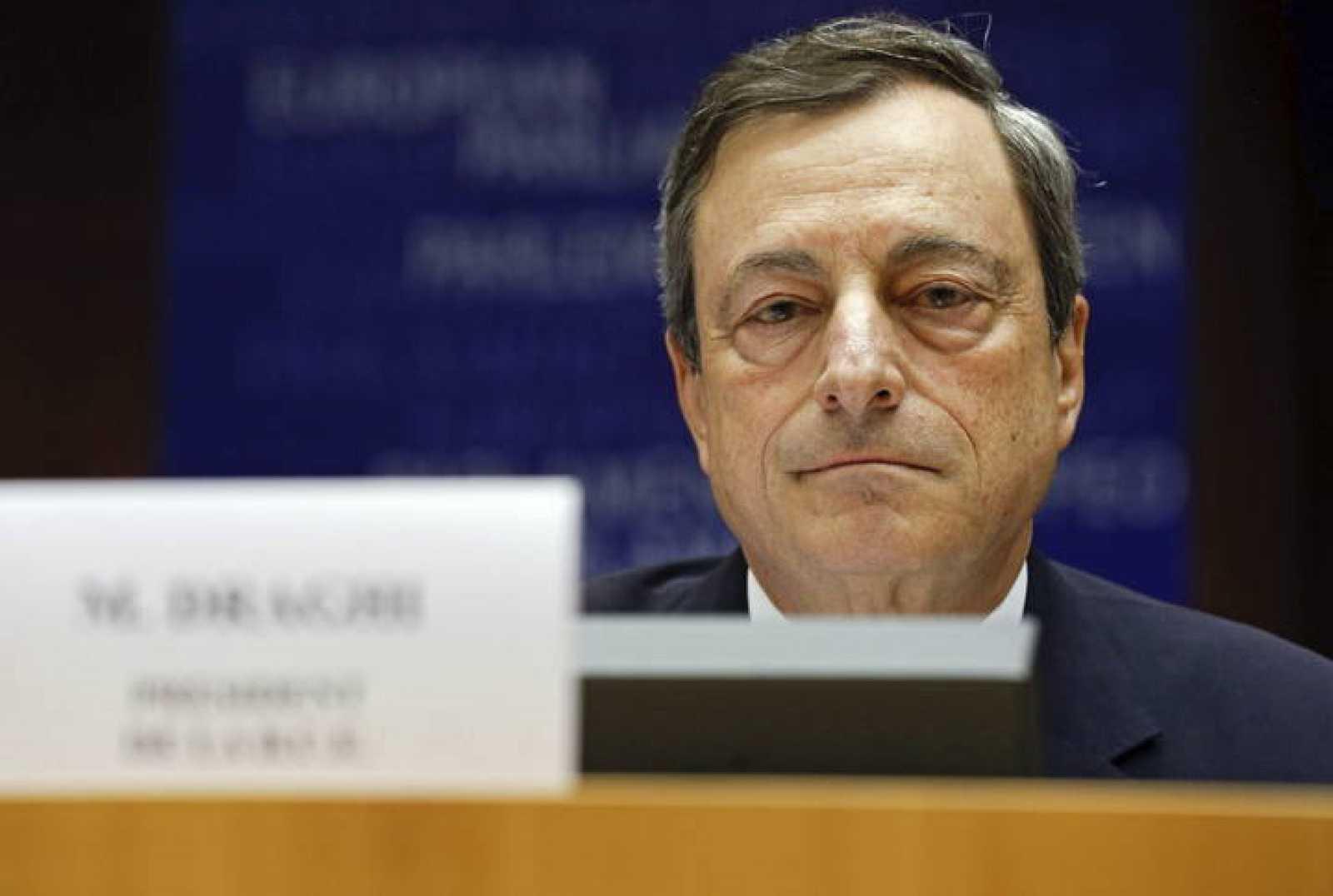 El presidente del BCE, Mario Draghi, durante una intervención en el Parlamento Europeo