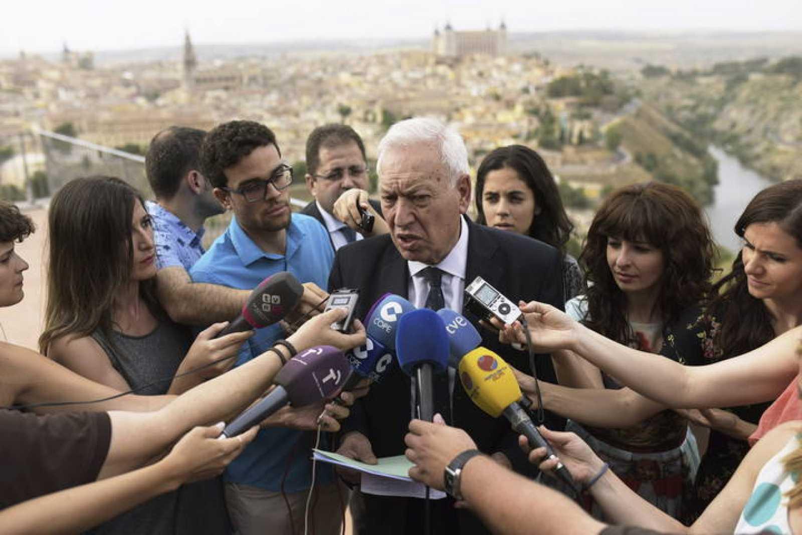 El ministro de Asuntos Exteriores, Jose Manuel García-Margallo, en un actoorganizado por el PP en Toledo.