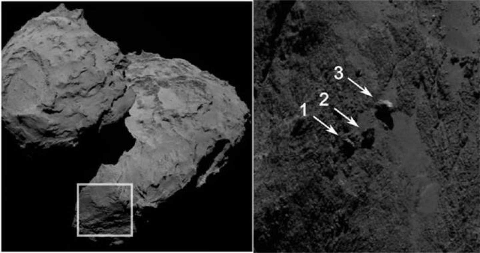 Vista de la zona del cometa donde se han hallado las tres piedras oscilantes y detalles de estas, con su localización.