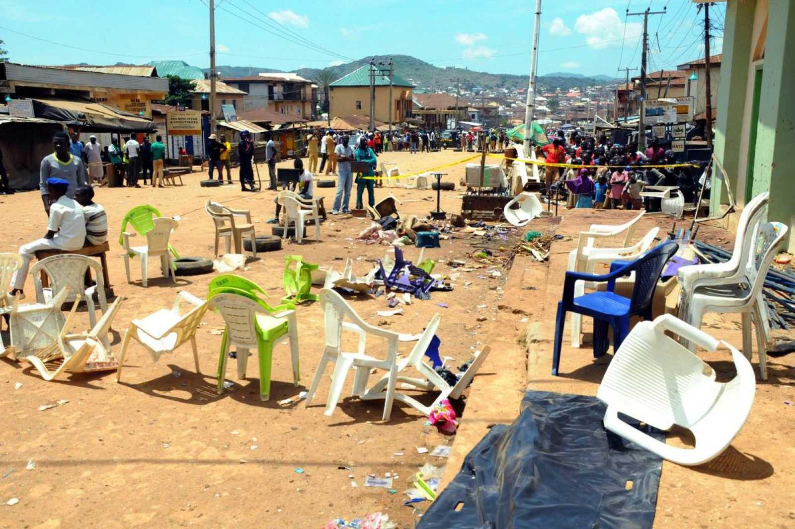 Imagen de archivo de la escena donde se produjo el doble atentado en la ciudad de Jos el pasado 6 de Julio. AFP