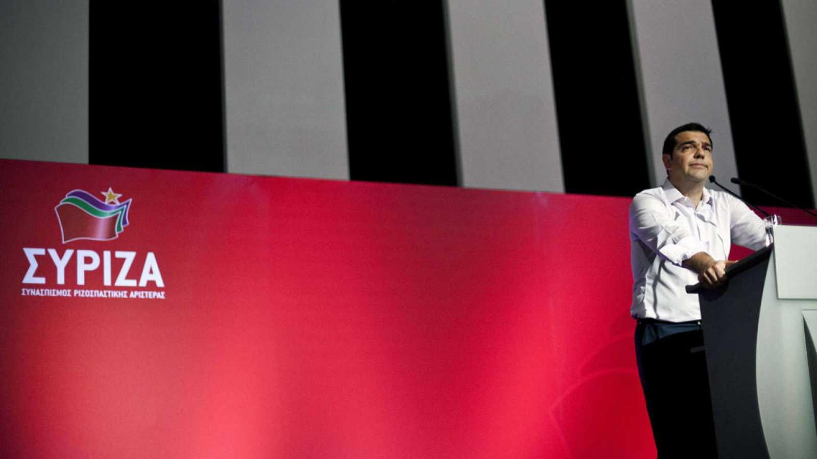 El primer ministro griego, Alexis Tsipras, durante su discurso ante el Comité Central de Syriza