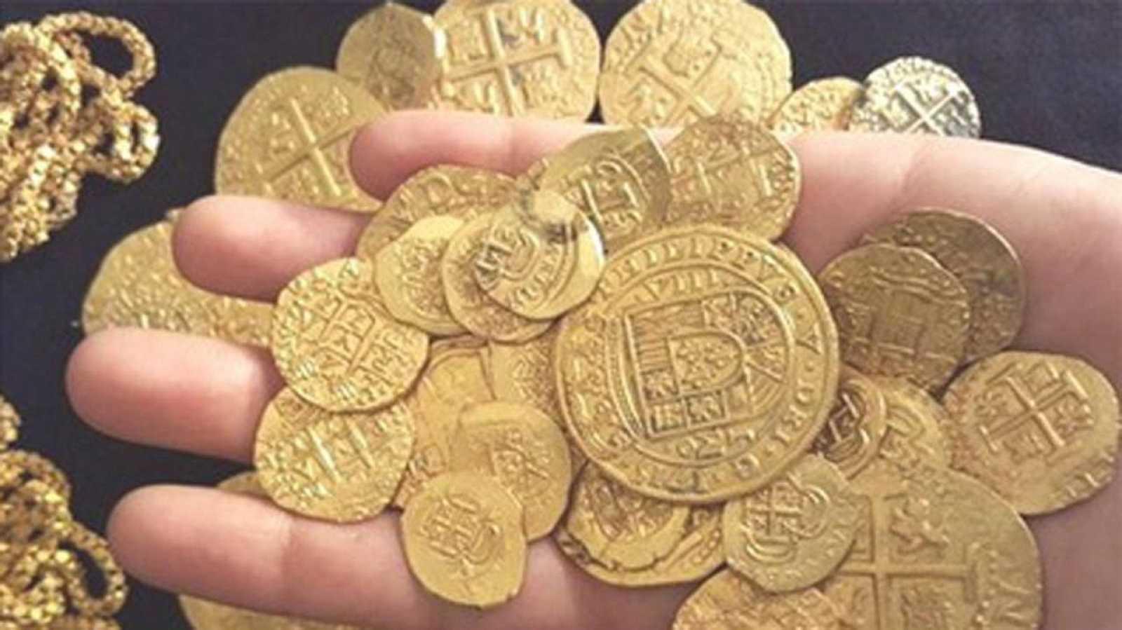 Una muestra de las monedas de oro encontradas en el pecio de la 'Capitana'