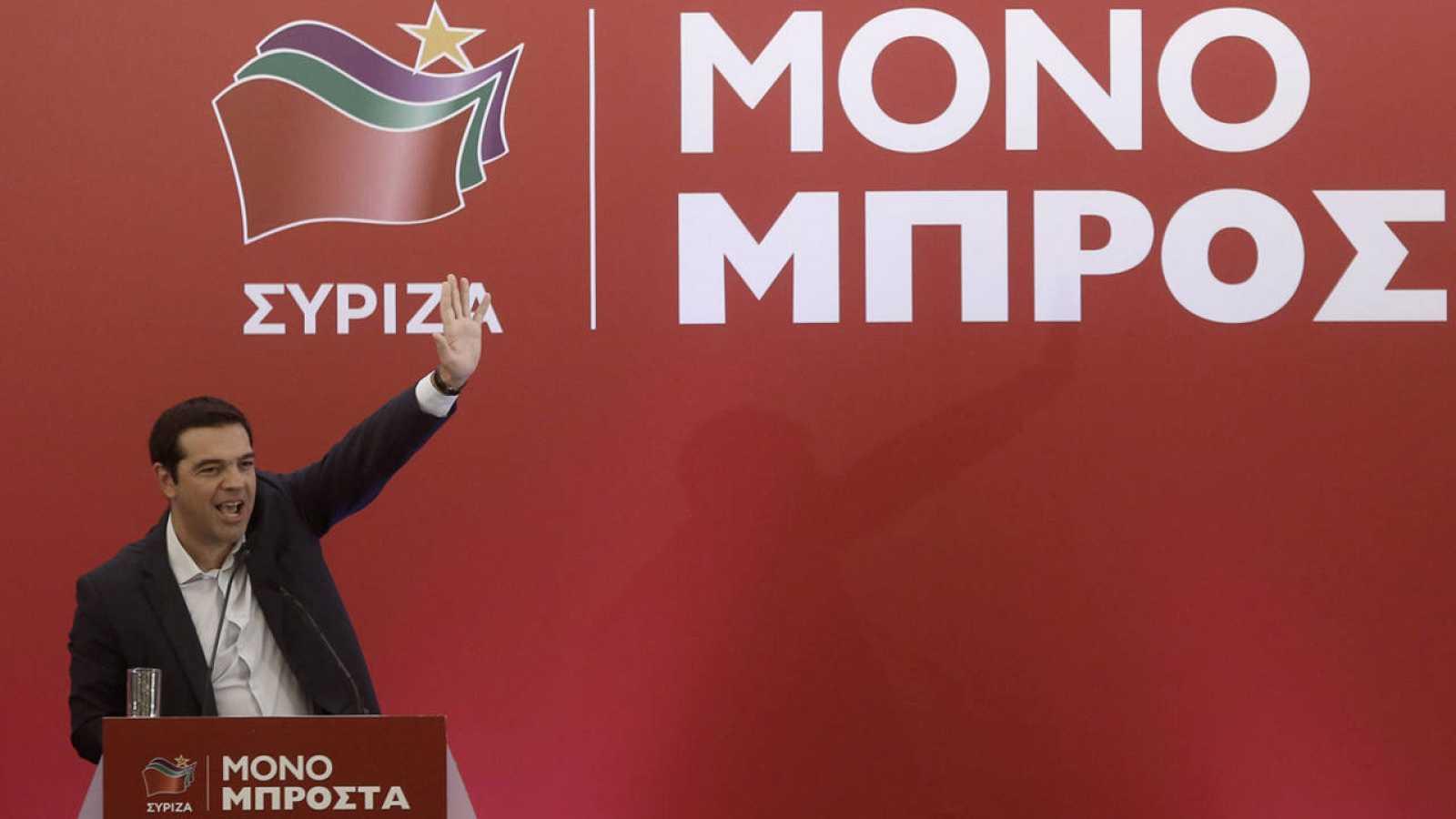 El líder de Syriza, Alexis Tsipras, durante una conferencia de su partido el pasado 29 de agosto