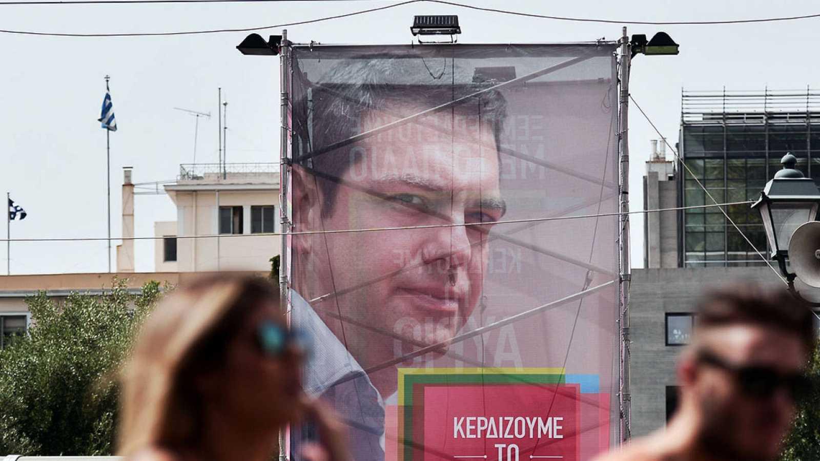 Cartel electoral de Alexis Tsipras, en Atenas