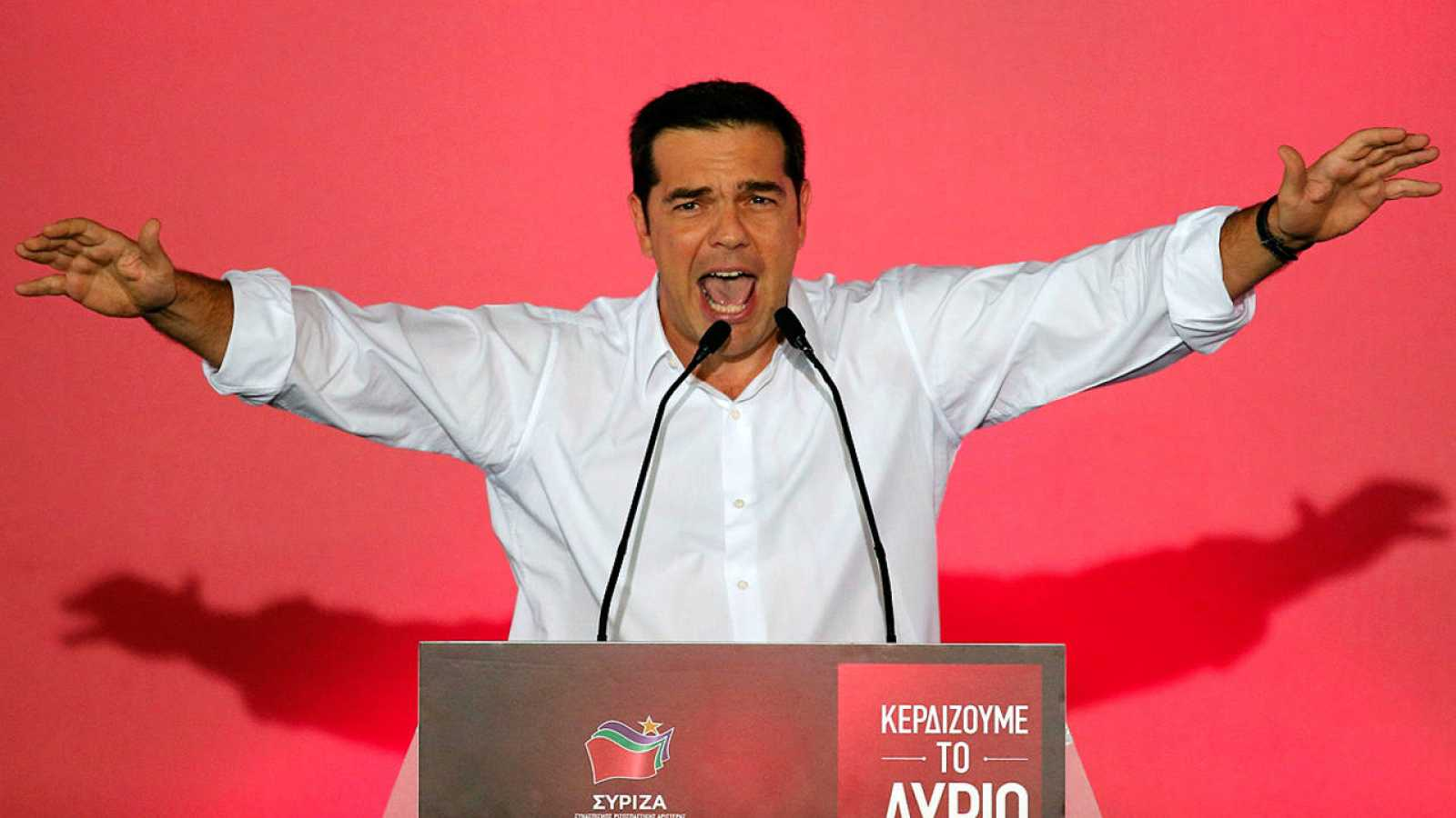 El líder de Syriza, Alexis Tsipras, en un mítin en Atenas