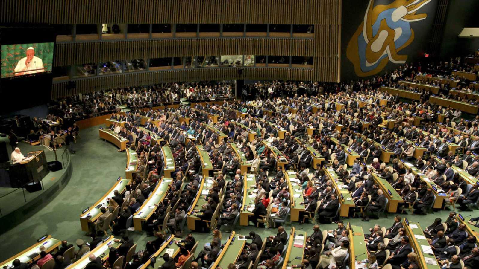 El papa Francisco durante su intervención en la Asamblea General de la ONU, en el preludio de la Cumbre Mundial sobre el Desarrollo Sostenible.