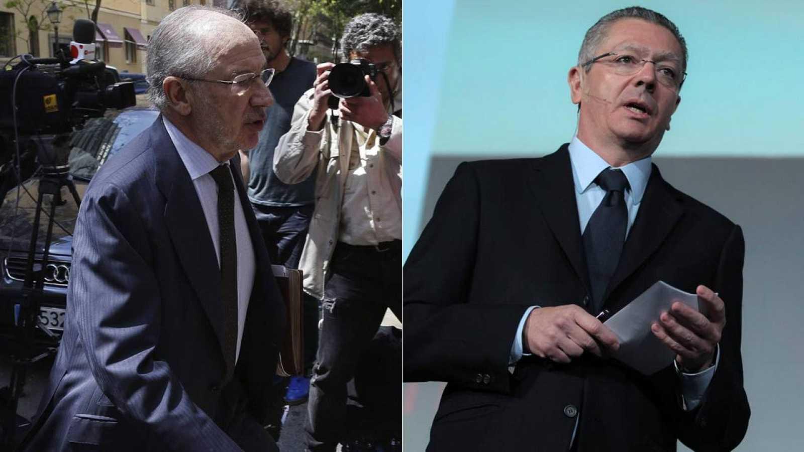 El exvicepresidente del Gobierno y exministro de Economía, Rodrigo Rato, y el exministro de Justicia y exalcalde de Madrid, Alberto Ruiz-Gallardón.
