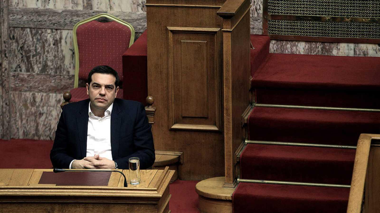 El presidente Alexis Tsipras en el Parlamento heleno