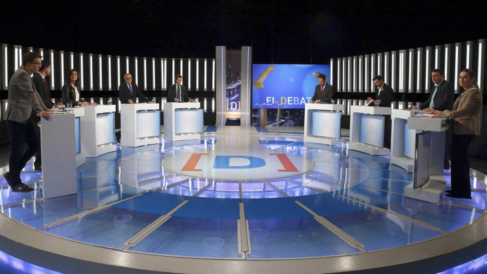 Imagen de los participantes en el debate electoral a nueve celebrado en RTVE.