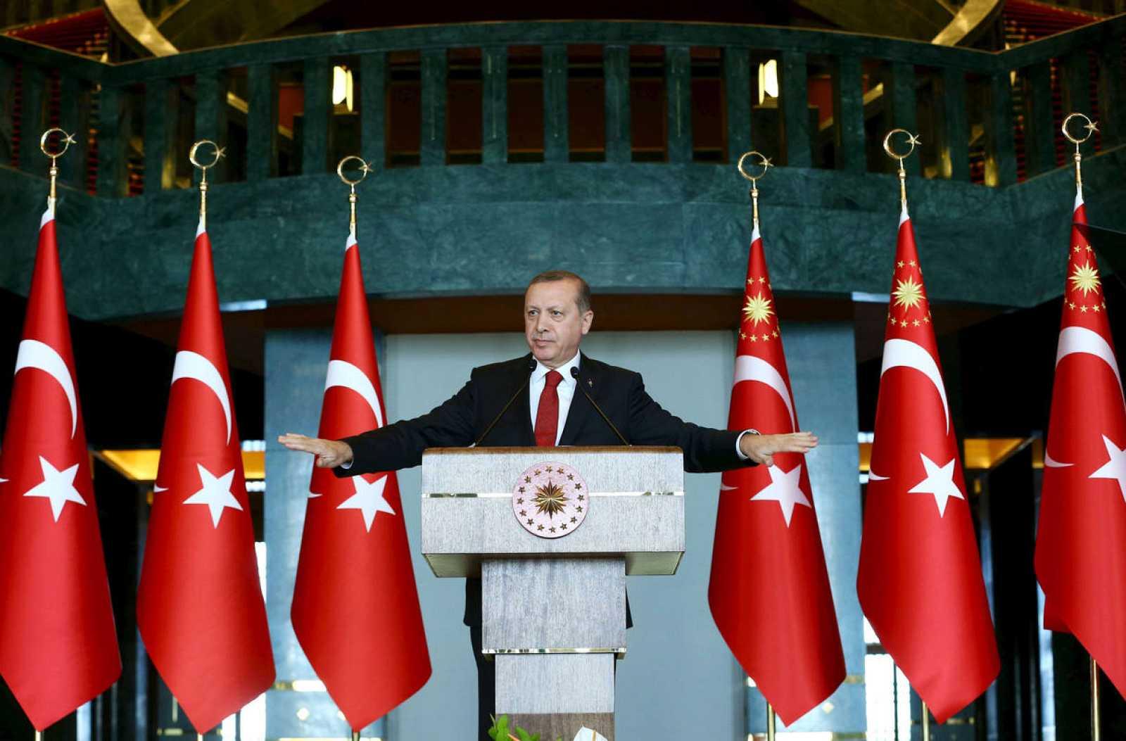 El presidente turco, Recep Tayyip Erdogan, en su comparecencia tras el atentado en el centro de Estambul