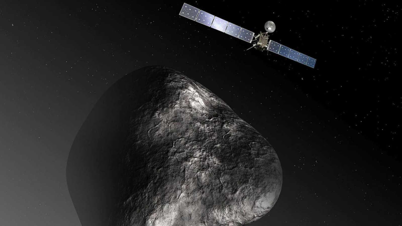Dibujo facilitado por la Agencia Espacial Europea que representa la sonda espacial Rosetta y el cometa 67P