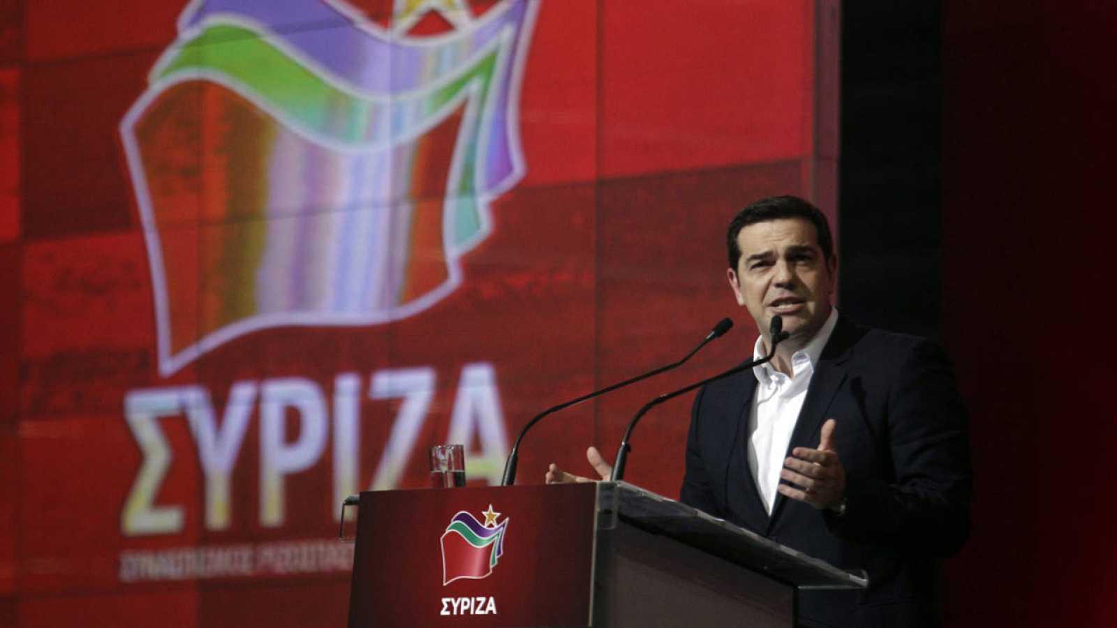 El primer ministro griego, Alexis Tsipras, durante un acto por el anuversario de su primer año del gobierno de Siriza
