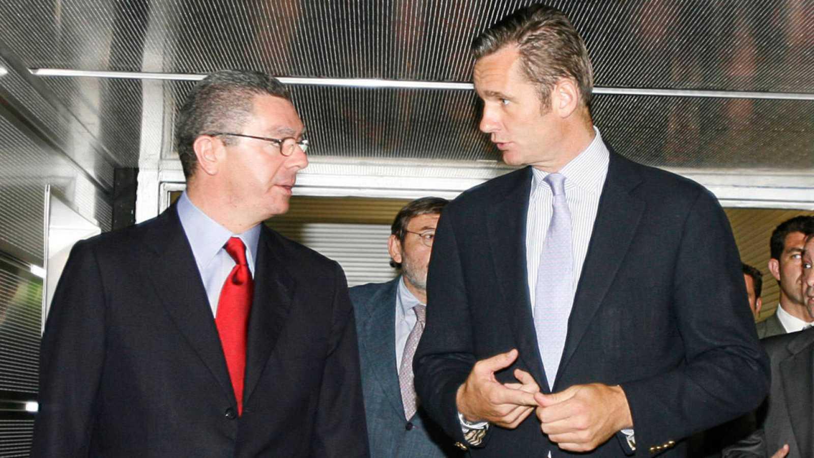 Alberto Ruiz Gallardón e Iñaki Urdangarin, en el acto de presentación de Madrid 2016 al deporte español, en 2007