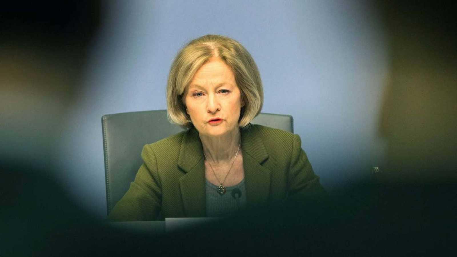 La presidenta del órgano supervisor bancario del BCE, Danièle Nouy, durante la presentación a los medios de comunicación del informe anual de supervisión en Fráncfort