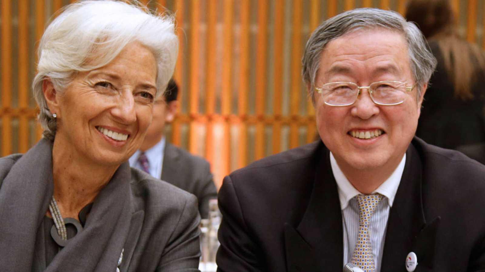 La directora del FMI con el presidente del Banco Popular Chino