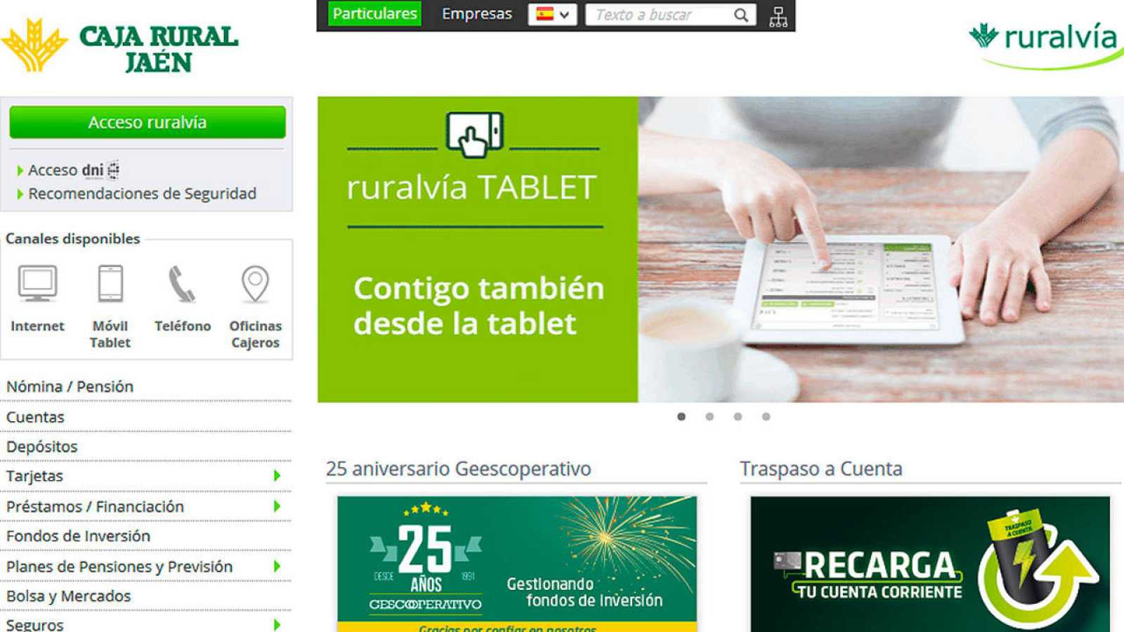Página web de la Caja Rural de Jaén