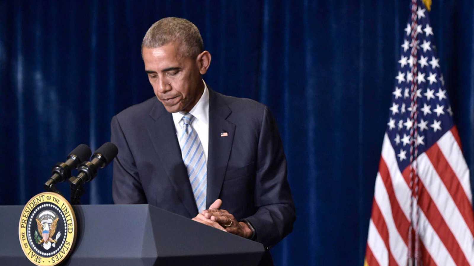 El presidente de Estados Unidos, Barack Obama, durante su rueda de prensa en Varsovia, ciudad en la que se celebra la cumbre de la OTAN.