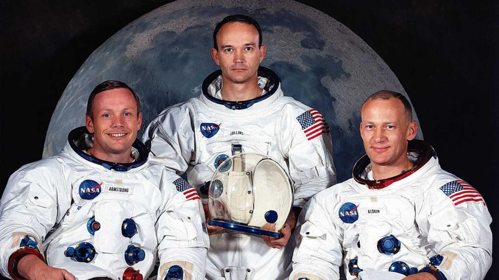 Los tres astronautas de la primera misión Apollo 11 (i a d), Neil A. Armstrong, Michael Collins y Edwin E. Aldrin Jr.