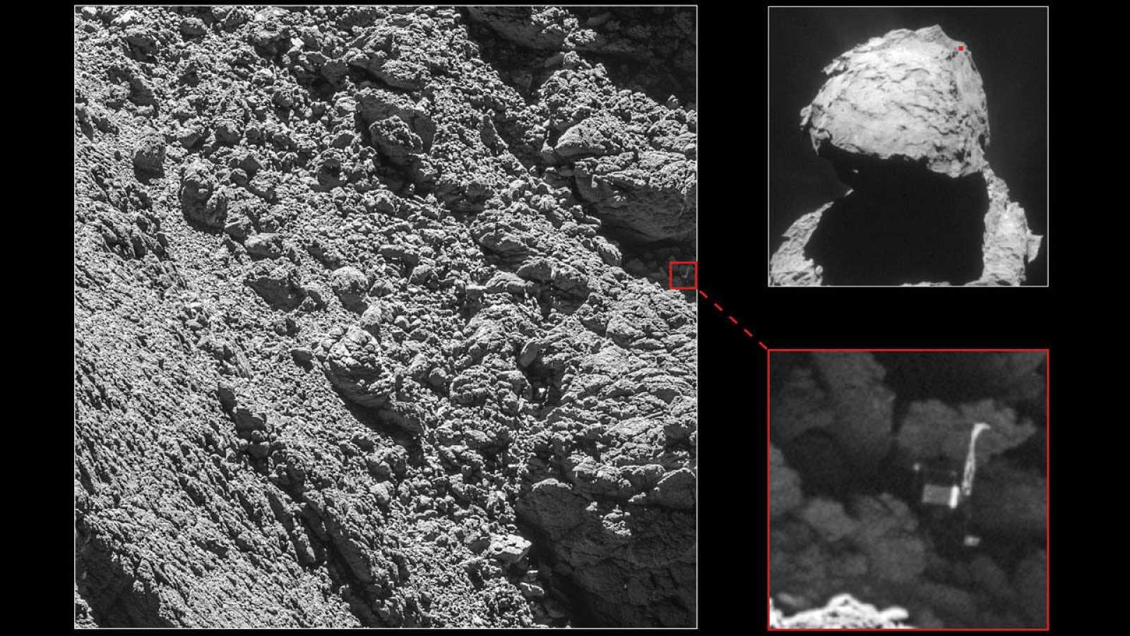 La sonda ha localizado el módulo Philae en una grieta del cometa