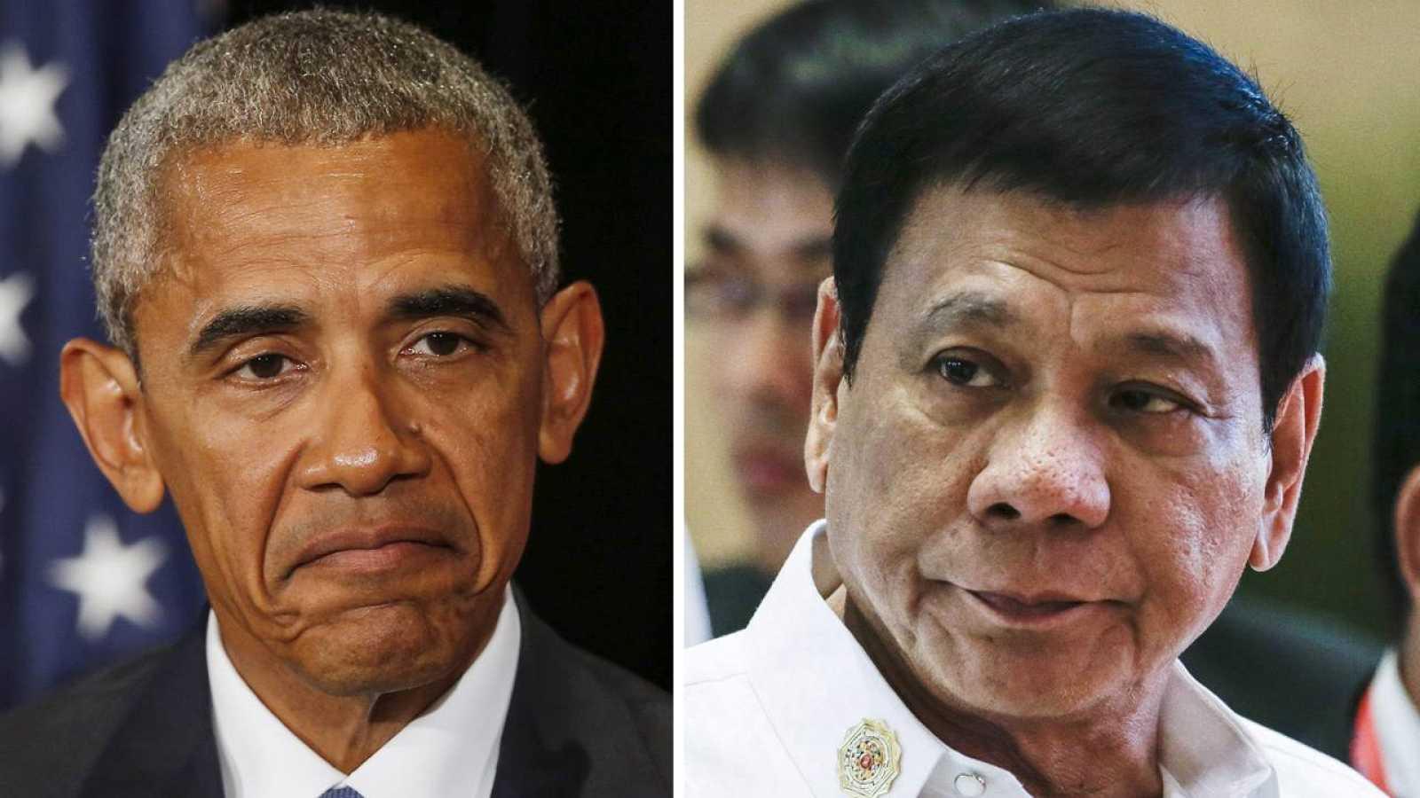 El presidente de Estados Unidos, Barack Obama (i) y el presidente de Filipinas, Rodrigo Duterte (d) en la reunión de líderes del G20 en Hangzhou (China)