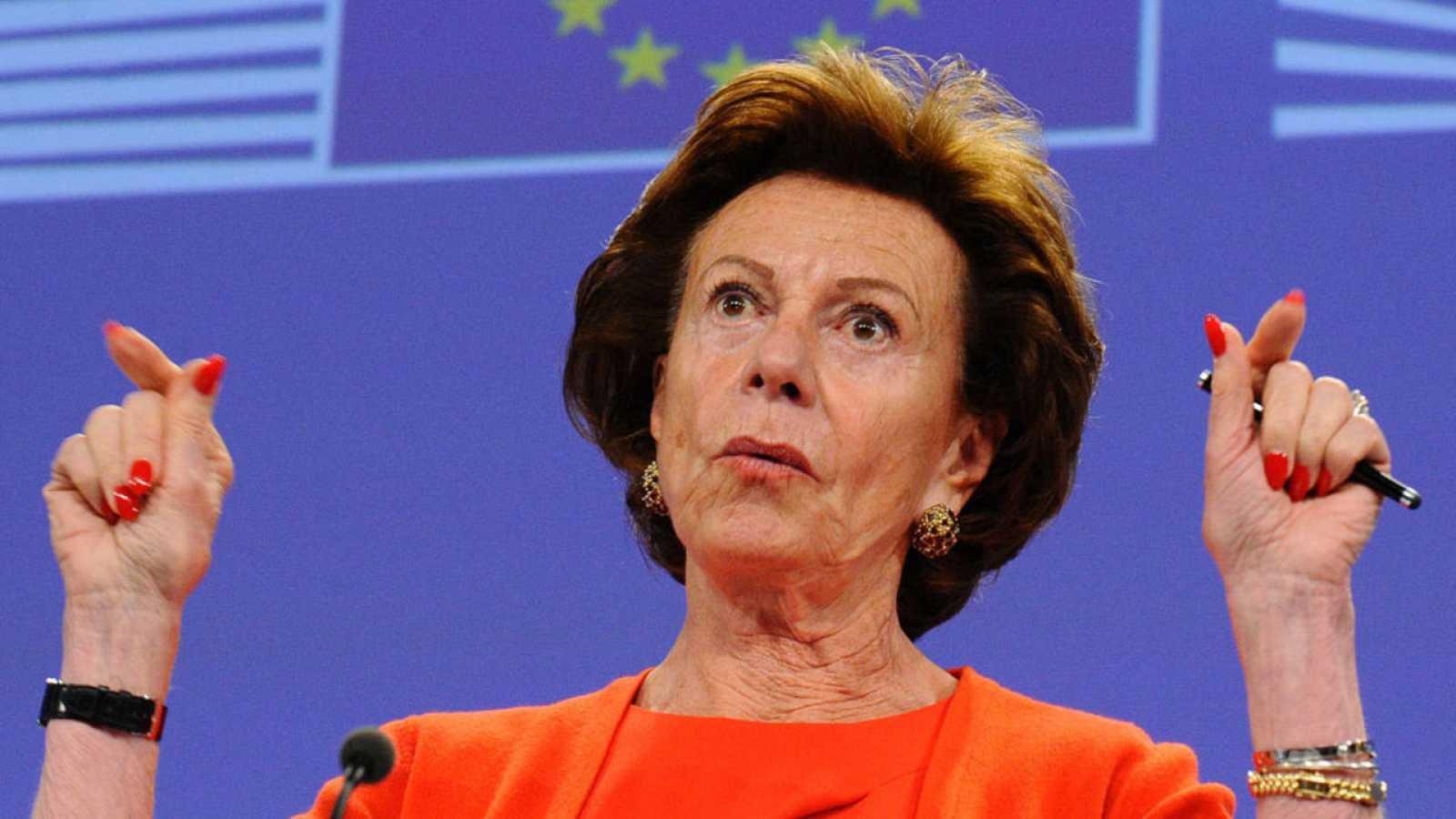 Neelie Kroes cuando era vicepresidenta de la Comisión Europea