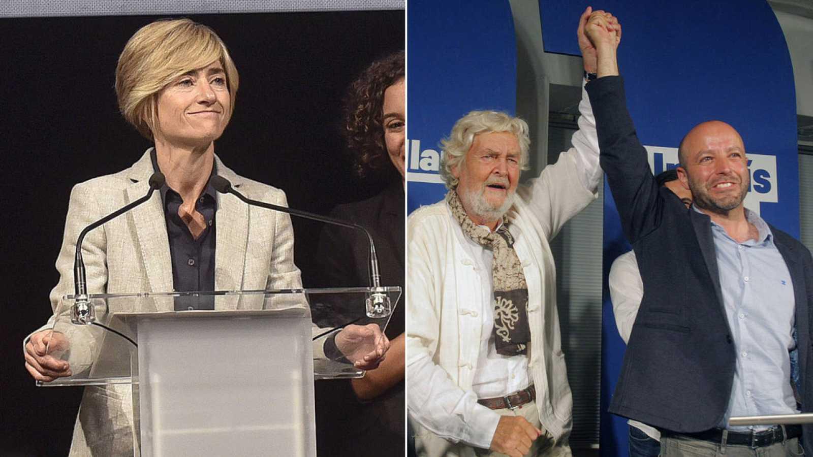 La candidata a lehendakari de Elkarrekin Podemos, Pili Zabala (I) y el candidato de En Marea a la presidencia de la Xunta gallega, Luis Villares (D) junto a Xosé Manuel Beiras(C).