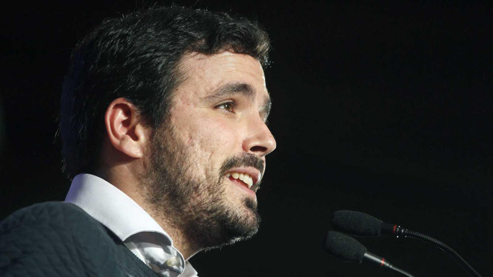El coordinador federal de Izquierda Unida, Alberto Garzón, durante la clausura de la VII Asamblea de Esquerra Unida i Alternativa en Barcelona