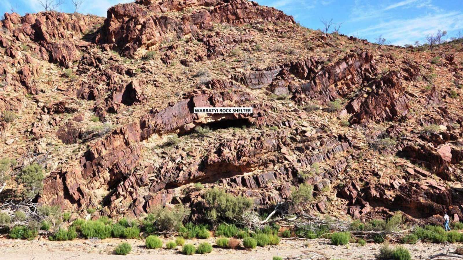 Imagen del refugio rocoso de Warratyi, en una garganta de la zona conocida como Flinders Ranges.