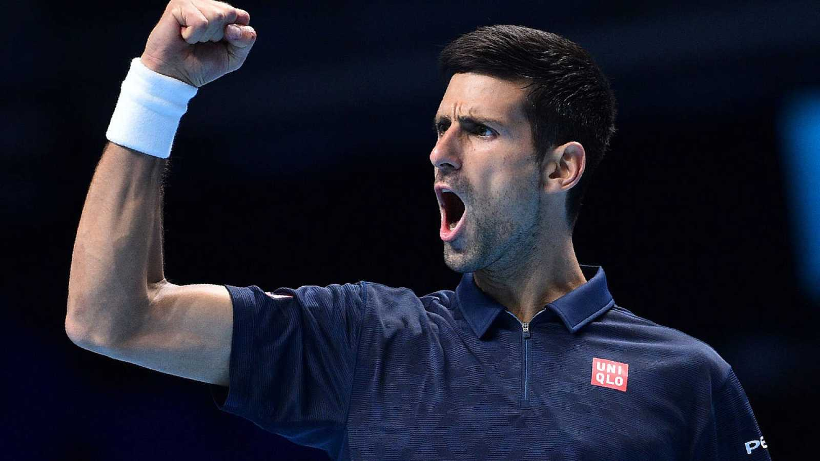 Novak Djokovic celebra ante Milos Raonic