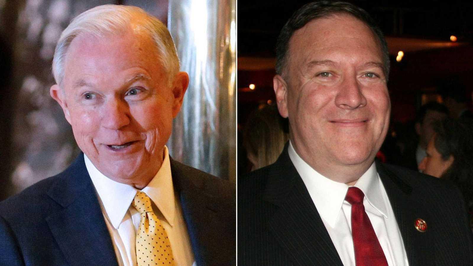 Jeff Sessions y Mike Pompeo, miembros del gobierno anunciado por Trump