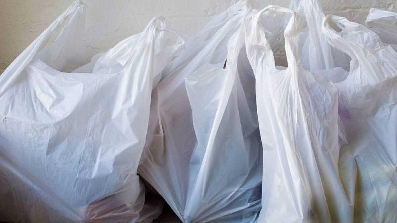 Bolsas de plástico de un solo uso o no biodegradables.