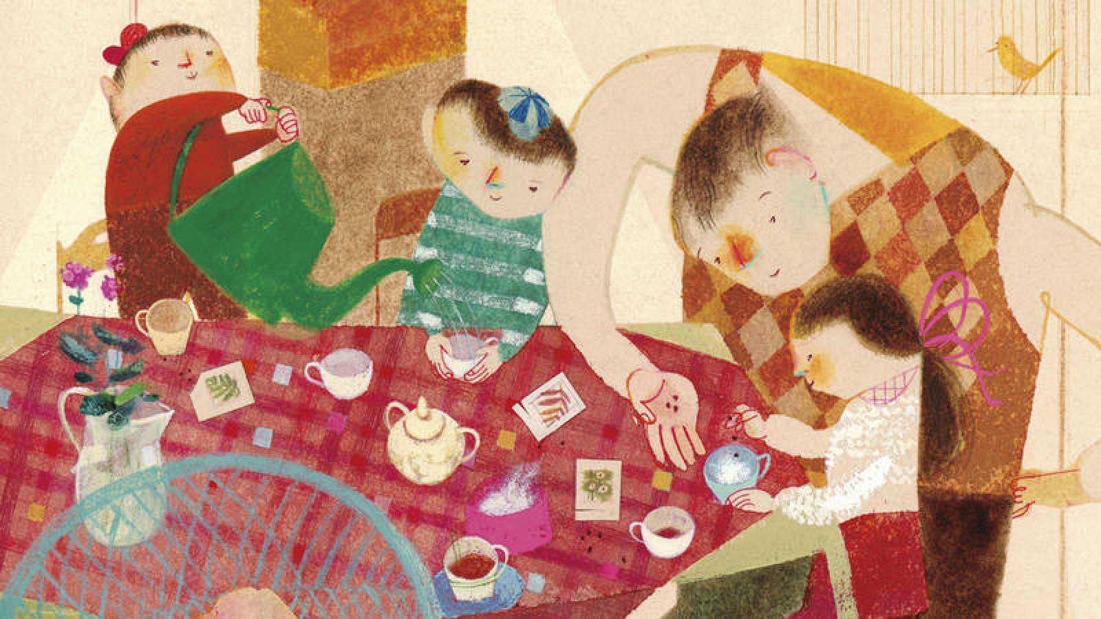 Fragmento de una ilustración de 'La familia de la vajilla impar'