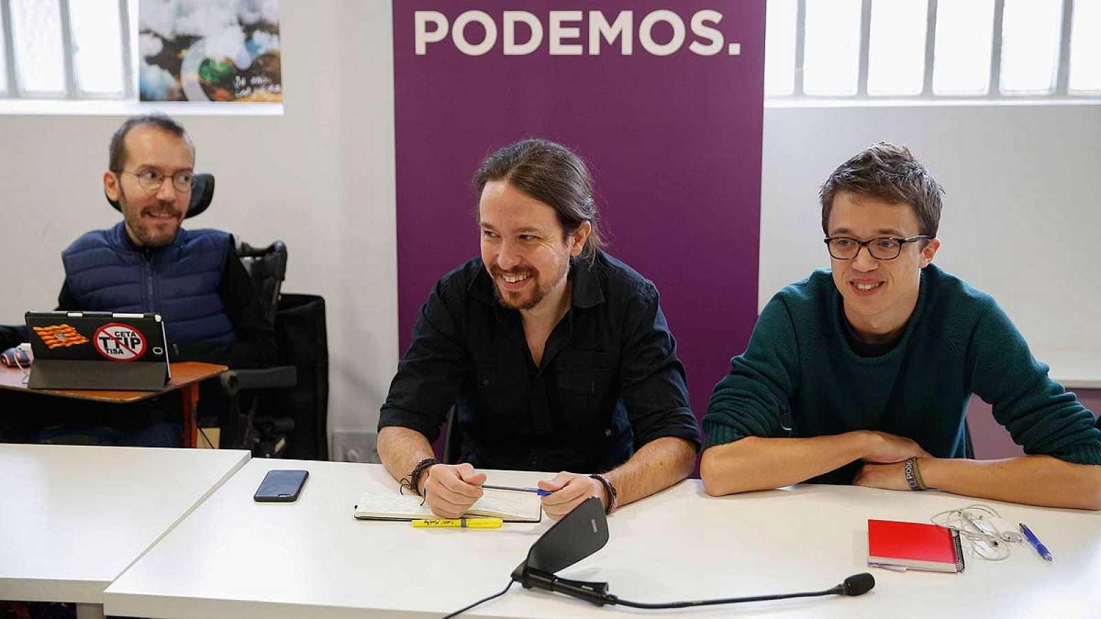 Echenique, Iglesias y Errejón durante el Consejo Ciudadano de Podemos