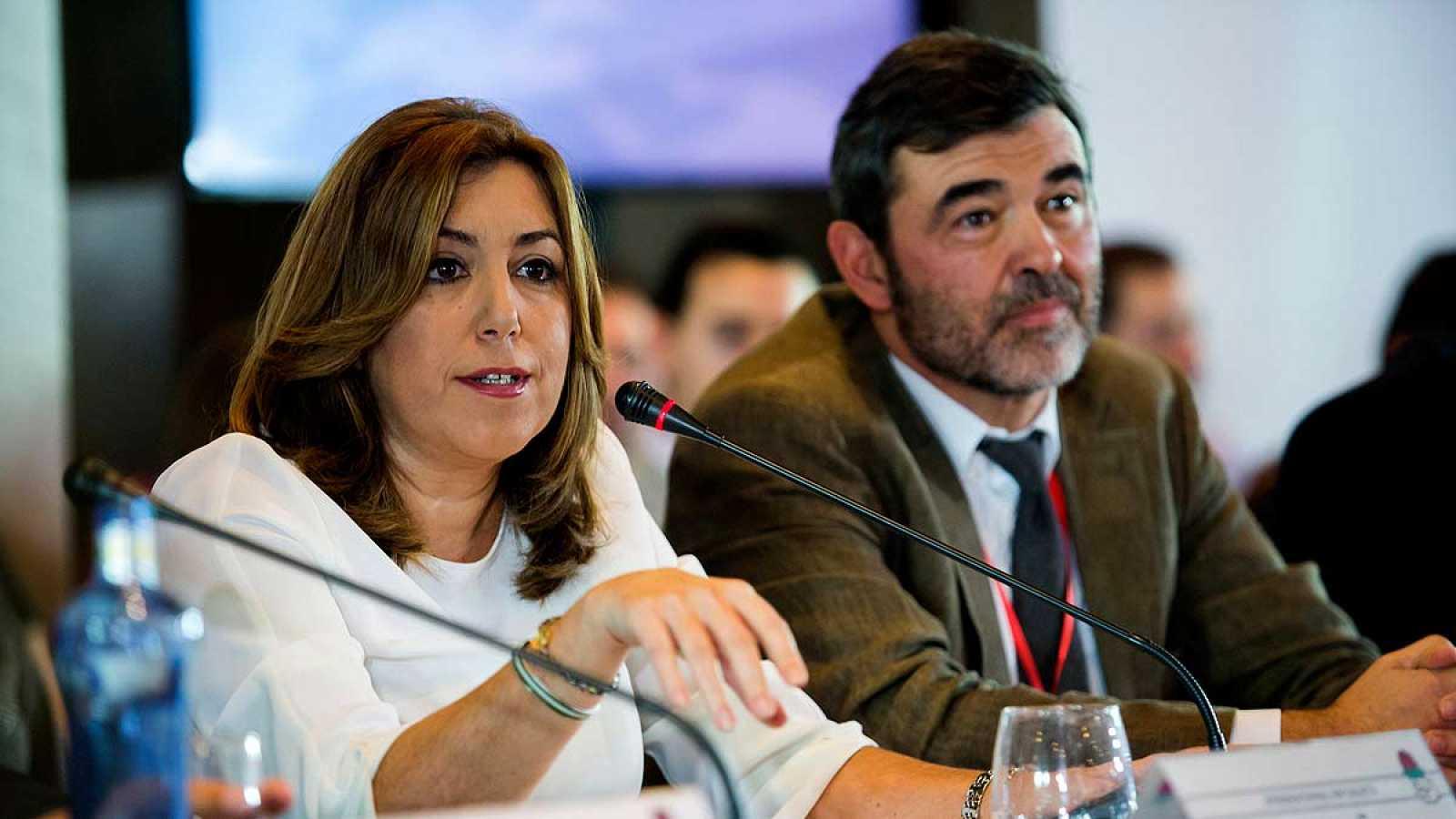 Susana Díaz junto al responsable del área de Internacional de la Gestora, Ricardo Cortés