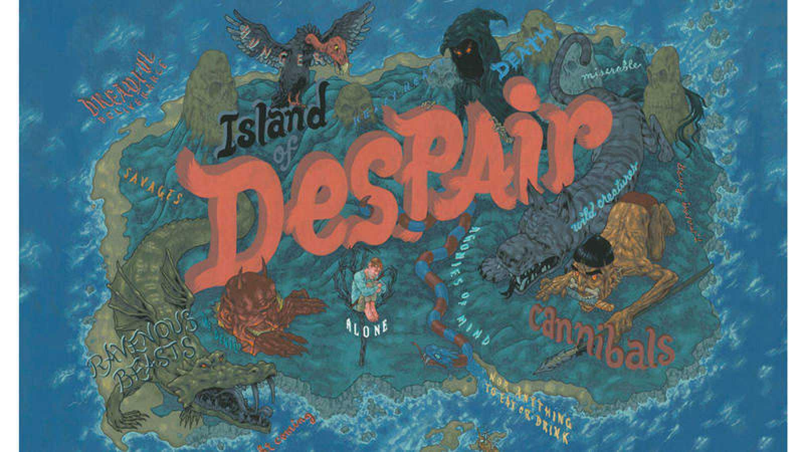 Mapa de la Isla de la Desesperanza de 'Robinson Crusoe'