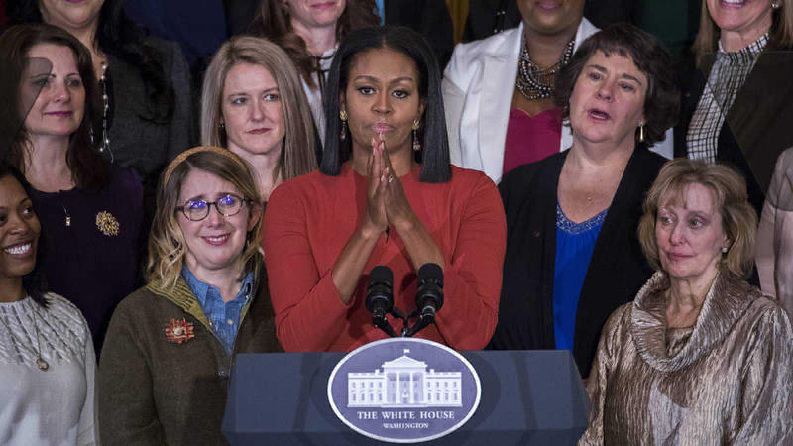 La primera dama de EE.UU., Michelle Obama, durante su último discurso en el cargo en la Casa Blanca
