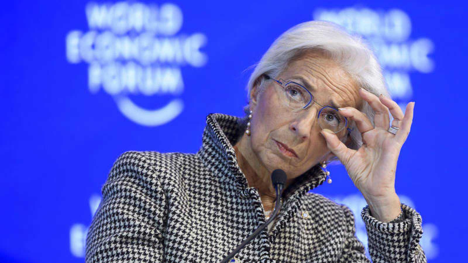 La directora gerente del FMI, Christine Lagarde, durante su intervención en el Foro Económico de Davos.