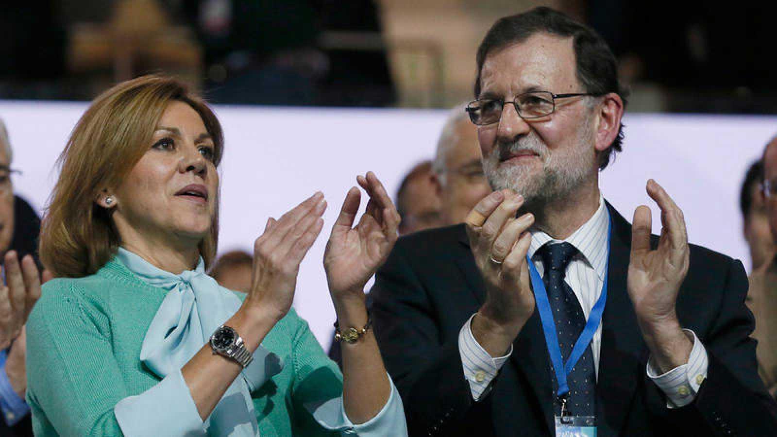 El presidente del PP, Mariano Rajoy, y la secretaria general del partido, María Dolores de Cospedal