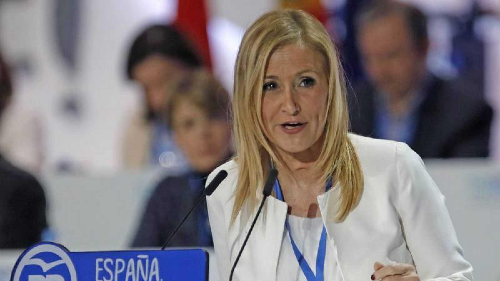 Cristina Cifuentes, presidenta de la Comunidad de Madrid durante el XVIII Congreso Nacional del PP
