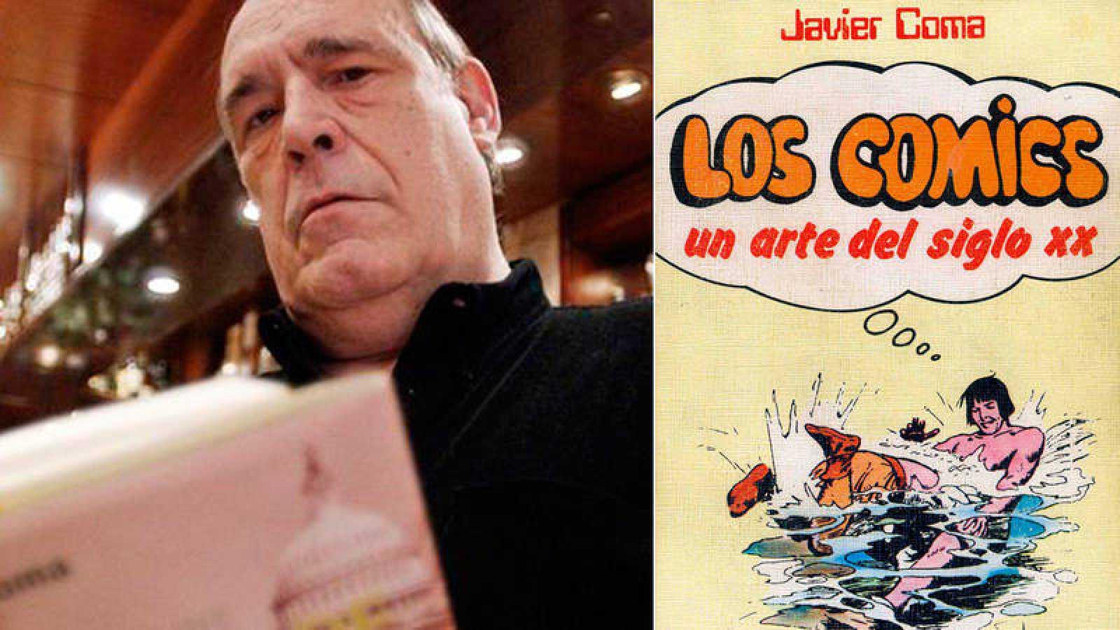 Javier Coma (EFE) y portada de una de sus obras